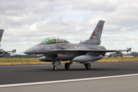 aircraft bomber: SCHLESWIG-JAGEL, GERMANY - JUN 23, 2014: Turkish Air Force F-16 fighter jet during the NATO Tiger Meet at Schleswig-Jagel airbase. Editorial