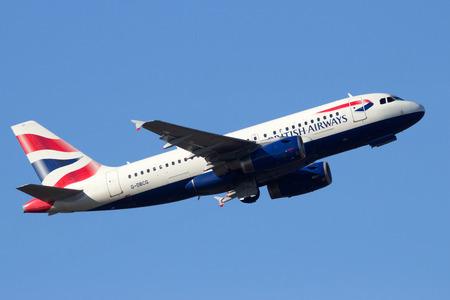 takeoff: AMSTERDAM-SCHIPHOL - FEB 16, 2016: British Airways  Airbus A319 take-off from Schiphol airport.