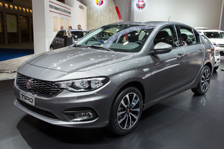 motor cars: BRUSSELS - JAN 12, 2016: New Fiat Tipo 2016 on display at the Brussels Motor Show.