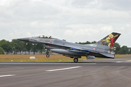 GILZE-RIJEN, THE NETHERLANDS - JUN 21, 2014: Netherlands Air Force F-16 take off during at the Air Force Open Day.