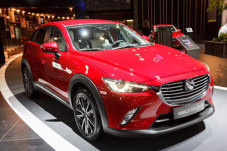 crossover: BRUSSELS - JAN 12, 2016: 2016 Mazda CX-3 Subcompact Crossover on display at the Brussels Motor Show. Editorial