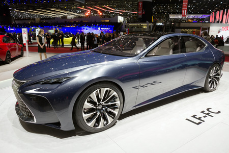 lexus: GENEVA, SWITZERLAND - MARCH 2, 2016: New 2017 Lexus LF-LC shown at the 86th International Geneva  Motor Show in Palexpo, Geneva. Editorial