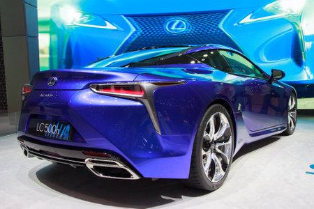 lexus: GENEVA, SWITZERLAND - MARCH 2, 2016: New 2018 Lexus LC 500h presented at the 85th International Geneva  Motor Show in Palexpo, Geneva. Editorial