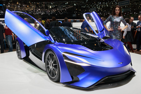 car front: GENEVA, SWITZERLAND - MARCH 1, 2016: Techrules AT96 TREV sports car presented at the 86th International Geneva  Motor Show in Palexpo, Geneva.