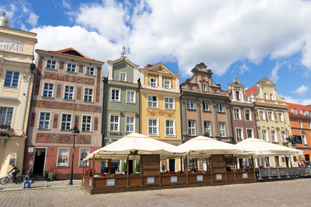 old city: POZNAN, POLAND - AUG 20, 2014: Colorfull houses on the central square in Poznan. The city is the 4th largest and the 3rd most visited city in Poland.