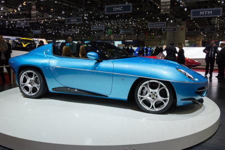 motor cars: GENEVA, SWITZERLAND - MARCH 1, 2016: Alfa Romeo Disco Volante Spyder by Touring Superleggera presented at the 86th International Geneva  Motor Show in Palexpo, Geneva.