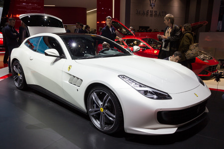 motorshow: GENEVA, SWITZERLAND - MARCH 1, 2016: Ferrari GTC4Lusso shown at the 86th International Geneva  Motor Show in Palexpo, Geneva.
