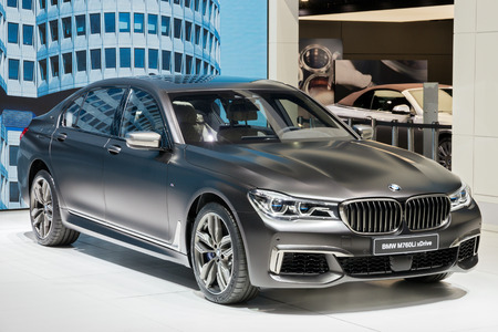 motor show: GENEVA, SWITZERLAND - MARCH 1, 2016: BMW 760Le xDrive iPerformance presented at the 86th International Geneva  Motor Show in Palexpo, Geneva.
