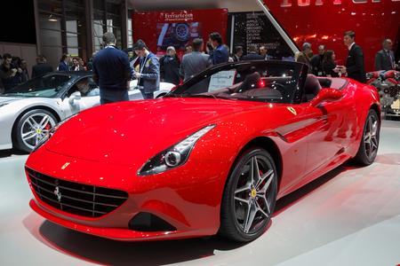 ferrari: GENEVA, SWITZERLAND - MARCH 1, 2016: Ferrari California T sports car shown at the 86th International Geneva  Motor Show in Palexpo, Geneva. Editorial