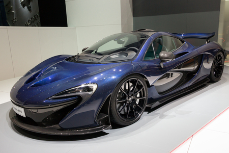 plugin: GENEVA, SWITZERLAND - MARCH 2, 2016: McLaren P1 plug-in hybrid sports car on display at the 86th International Geneva  Motor Show in Palexpo, Geneva.