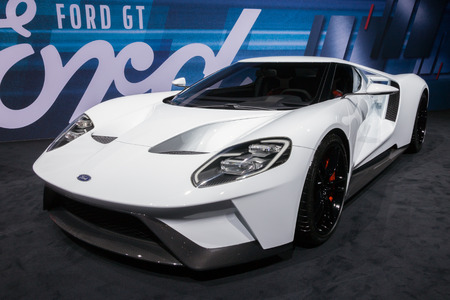 gt: GENEVA, SWITZERLAND - MARCH 1, 2016: New 2017 Ford GT shown at the 86th International Geneva  Motor Show in Palexpo, Geneva.