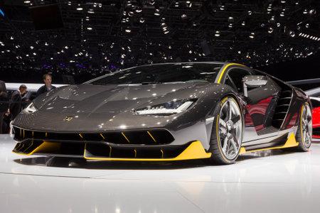front of car: GENEVA, SWITZERLAND - MARCH 1, 2016: Lamborghini LP770-4 Centenario unveiled at the 86th International Geneva  Motor Show in Palexpo, Geneva.