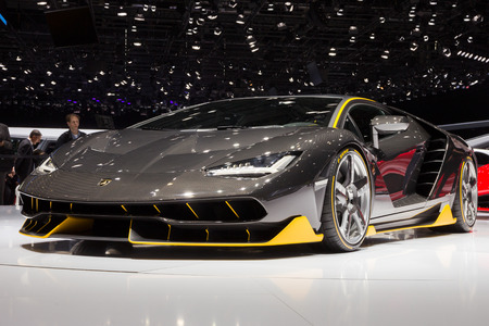 the model car: GENEVA, SWITZERLAND - MARCH 1, 2016: Lamborghini LP770-4 Centenario unveiled at the 86th International Geneva  Motor Show in Palexpo, Geneva.