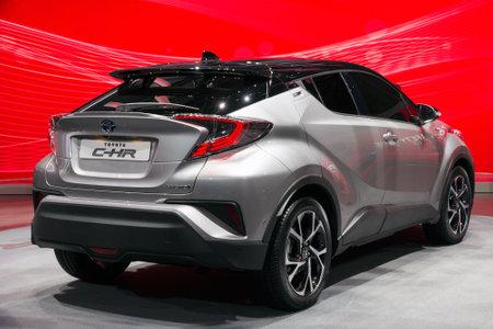 chr: GENEVA, SWITZERLAND - MARCH 2, 2016: Toyota C-HR on display at the 85th International Geneva  Motor Show in Palexpo, Geneva.