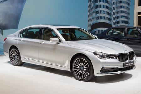 bmw: GENEVA, SWITZERLAND - MARCH 1, 2016: BMW 740Le xDrive iPerformance presented at the 86th International Geneva  Motor Show in Palexpo, Geneva. Editorial