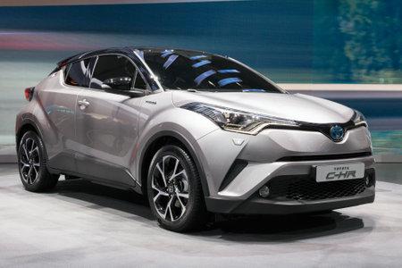 chr: GENEVA, SWITZERLAND - MARCH 2, 2016: World premiere of the new Toyota C-HR at the 85th International Geneva  Motor Show in Palexpo, Geneva. Editorial