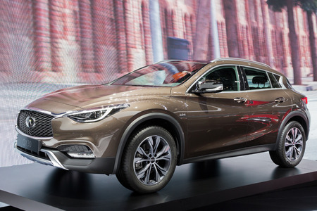 new motor vehicles: GENEVA, SWITZERLAND - MARCH 1, 2016: Infiniti QX30 shown at the 86th International Geneva  Motor Show in Palexpo, Geneva.