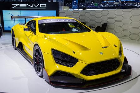 yellow car: GENEVA, SWITZERLAND - MARCH 1, 2016: Zenvo TSR presented at the 86th International Geneva  Motor Show in Palexpo, Geneva.
