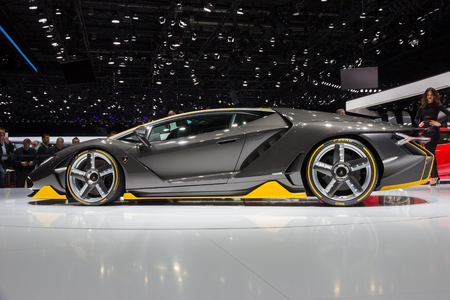 lamborghini: GENEVA, SWITZERLAND - MARCH 1, 2016: Lamborghini LP770-4 Centenario unveiled at the 86th International Geneva  Motor Show in Palexpo, Geneva.