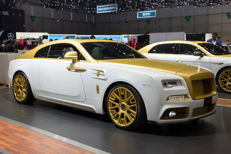 wraith: GENEVA, SWITZERLAND - MARCH 1, 2016: Mansory Rolls-Royce Wraith shown at the 86th International Geneva Motor Show in Palexpo, Geneva. Editorial
