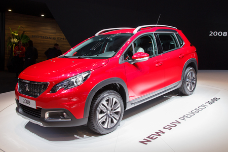 motor show: GENEVA, SWITZERLAND - MARCH 2, 2016: New Peugeot 2008 SUV presented at the 86th International Geneva Motor Show in Palexpo, Geneva. Editorial