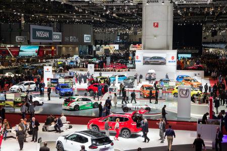 GENEVA, SWITZERLAND - MARCH 1, 2016: Overview of the 86th International Geneva Motor Show in Palexpo, Geneva. Redactioneel