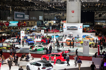 new motor vehicles: GENEVA, SWITZERLAND - MARCH 1, 2016: Overview of the 86th International Geneva Motor Show in Palexpo, Geneva. Editorial