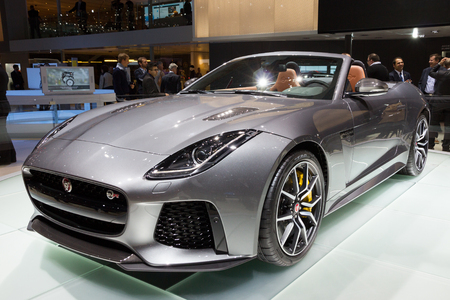 presented: GENEVA, SWITZERLAND - MARCH 2, 2016: New 2017 Jaguar F-Type SVR convertible presented at the 86th International Geneva Motor Show in Palexpo, Geneva.