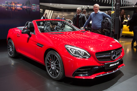 motor show: GENEVA, SWITZERLAND - MARCH 2, 2016: Mercedes-AMG SLC 43 shown at the 86th International Geneva Motor Show in Palexpo, Geneva. Editorial