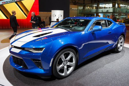 geneva: GENEVA, SWITZERLAND - MARCH 2, 2016: New 2016 Chevrolet Camaro  at the 86th International Geneva Motor Show in Palexpo, Geneva.