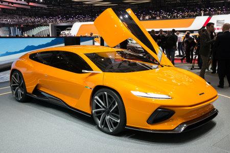 motorshow: GENEVA, SWITZERLAND - MARCH 2, 2016: Italdesign GTZero electric sports car presented at the 86th International Geneva Motor Show in Palexpo, Geneva. Editorial