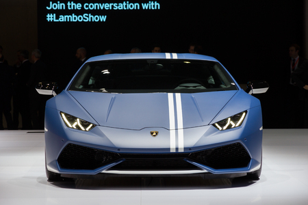 GENEVA, SWITZERLAND - MARCH 1, 2016: Lamborghini Huracan LP610-4 Avio Special Edition shown at the 86th International Geneva Motor Show in Palexpo, Geneva. Editoriali