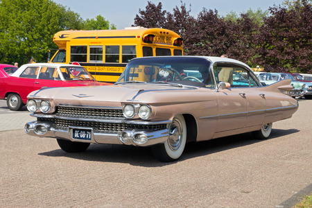 ville: DEN BOSCH, THE NETHERLANDS - MAY 10, 2015: 1959 Cadillac Sedan De Ville on the parking lot at the Rock Around The Jukebox event.