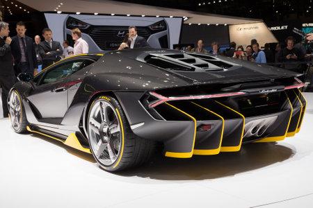 uto: GENEVA, SWITZERLAND - MARCH 1, 2016: Lamborghini LP770-4 Centenario unveiled at the 86th International Geneva Motor Show in Palexpo, Geneva.