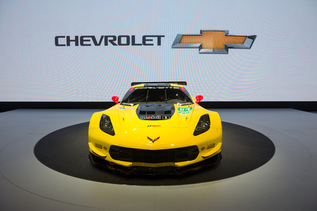 motor cars: GENEVA, SWITZERLAND - MARCH 1, 2016: New 2017 Corvette Grand Sport presented at the 86th International Geneva Motor Show in Palexpo, Geneva. Editorial