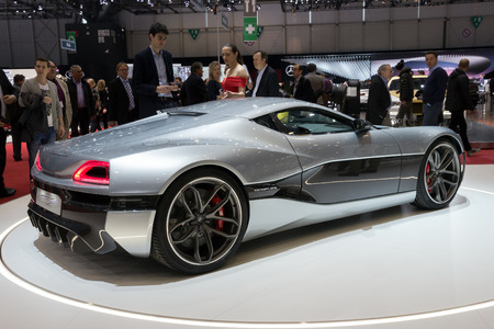 supercar: GENEVA, SWITZERLAND - MARCH 2, 2016: 1073HP Rimac Concept One Electric Supercar shown at the 86th International Geneva Motor Show in Palexpo, Geneva. Editorial