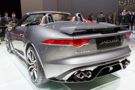 tails: GENEVA, SWITZERLAND - MARCH 1, 2016: New 2017 Jaguar F-Type SVR convertible presented at the 86th International Geneva Motor Show in Palexpo, Geneva.