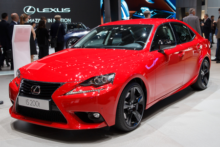 lexus auto: GENEVA, SWITZERLAND - MARCH 2, 2016: Lexus IS 200t shown at the 85th International Geneva Motor Show in Palexpo, Geneva. Editorial
