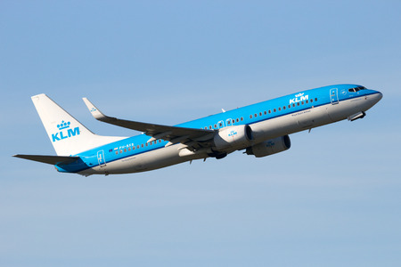klm: AMSTERDAM-SCHIPHOL - FEB 16, 2016: KLM Royal Dutch Airlines Boeing 737 take-off from Schiphol airport