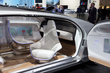 new motor vehicles: GENEVA, SWITZERLAND - MARCH 1, 2016: Interior of the Mercedes Benz autonomous concept car at the 86th International Geneva Motor Show in Palexpo, Geneva.