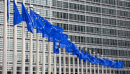 international crisis: Flags in front of the EU Commission building in Brussels
