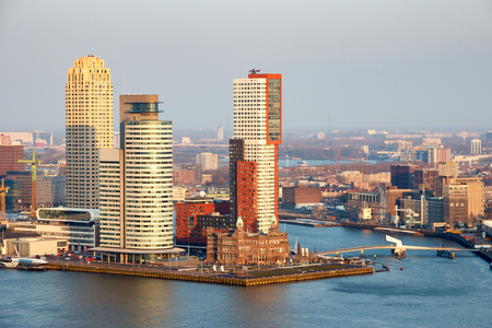 View of the Rotterdam skyline on the Wilhelminapier.