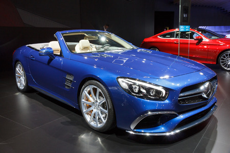 mercedes: BRUSSELS - JAN 12, 2016: New Mercedes AMG SL65 Convertible Roadster on display at the Brussels Motor Show.
