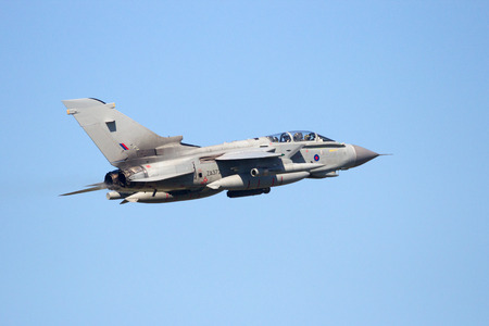 royal air force: LEEUWARDEN, NETHERLANDS - APR 11, 2016: Royal Air Force Tornado GR4 fighter jet take off during exercise Frisian Flag. The exercise is considered one of the most important NATO training events this year.