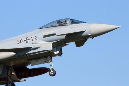 leeuwarden: LEEUWARDEN, NETHERLANDS - APR 11, 2016: German Air Force EF2000 Eurofighter from JaboG 31 Boelcke landing during the exercise Frisian Flag.