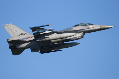 leeuwarden: LEEUWARDEN, THE NETHERLANDS - APR 11, 2016: Royal Netherlands Air Force F-16 fighter jet take off during exercise Frisian Flag.
