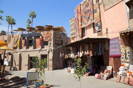 berber: Traditional moroccan textile for sale in the souks of Marrakech, Morocco