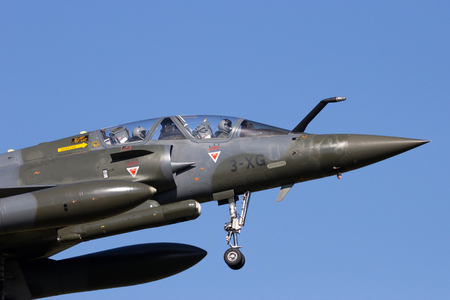 leeuwarden: LEEUWARDEN, THE NETHERLANDS - APR 11, 2016: French Air Force Mirage 2000D landing during exercise Frisian Flag.