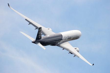 BERLIN - JUN 2, 2016: Airbus A350 XWB take off from Berlin-Schoneveld airport.