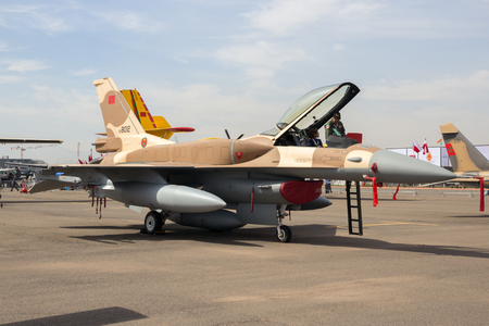 fighter jet: MARRAKECH, MOROCCO - APR 28, 2016: Moroccan F-16 fighter jet on display at the Marrakech Air Show